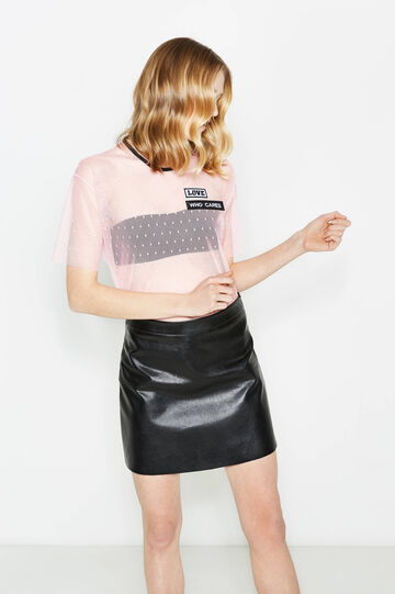 Stretch tulle T-shirt with polka dot pattern