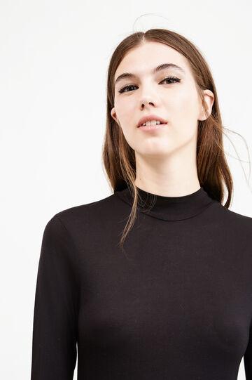 100% viscose dress with ruffles, Black, hi-res