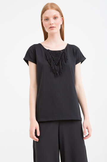 Cotton blend T-shirt with fringing, Black, hi-res