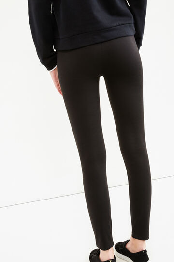 Leggings with glossy insert, Black, hi-res
