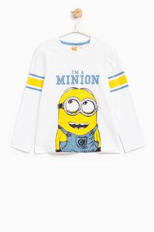 T-shirt puro cotone stampa Minions, Bianco sporco, hi-res