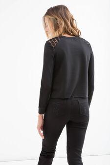 Teen viscose blend cropped sweatshirt, Black, hi-res