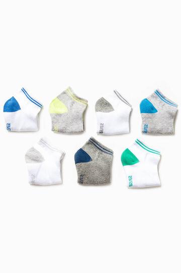 Set sette paia di calze corte con ricami, Multicolor, hi-res