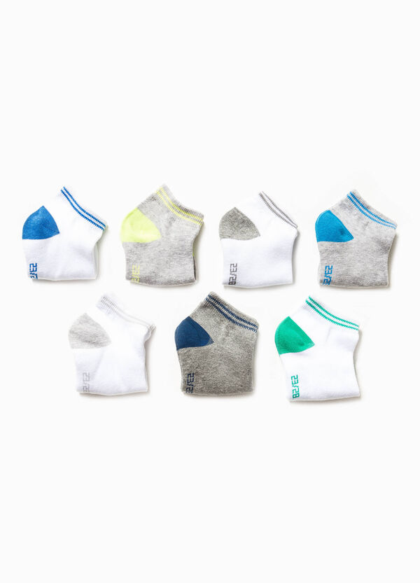 Seven-pair pack short socks with embroidery | OVS