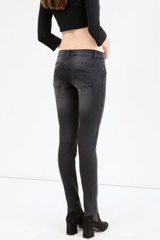 Faded-effect stretch push-up jeans, Black, hi-res
