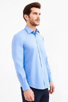 Regular-fit formal shirt in cotton blend, Soft Blue, hi-res