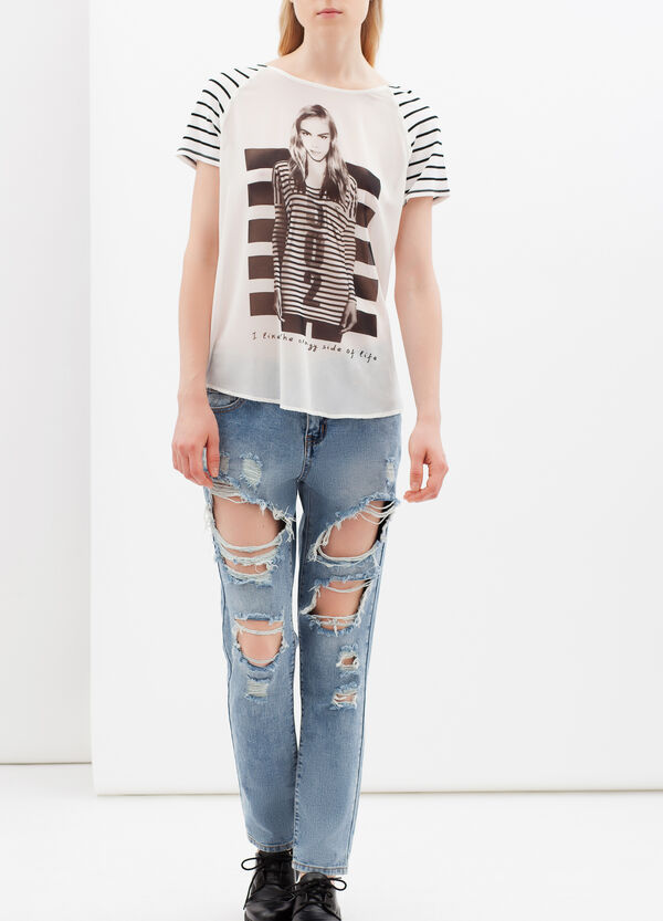 Printed T-shirt with boat neck | OVS