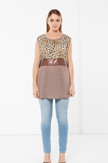 Curvy animal print T-shirt, Light Brown, hi-res