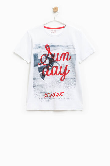 Printed T-shirt with round neck, White/Red, hi-res
