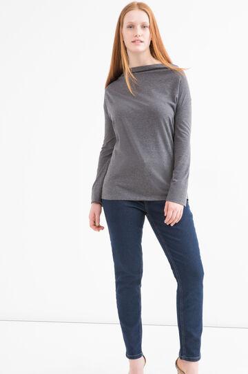Curvy viscose blend T-shirt, Grey Marl, hi-res