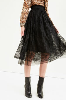 High-waisted longuette skirt in lace, Black, hi-res