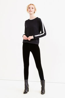 Solid colour velvet leggings, Black, hi-res