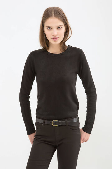Solid colour knitted pullover, Black, hi-res