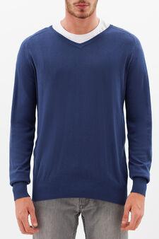 Pullover con scollo a V, Blu chiaro, hi-res