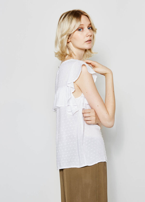 Blouse with speckled weave and flounce | OVS