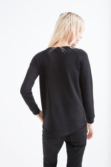 Openwork sweatshirt in 100% cotton, Black, hi-res