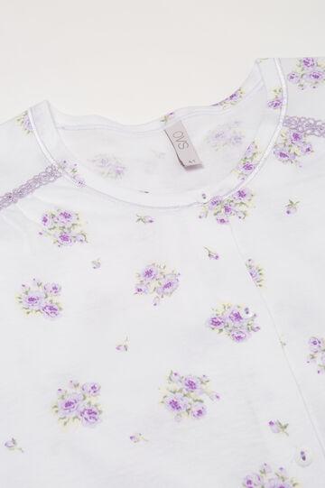 Curvy 100% cotton floral pyjamas, White, hi-res
