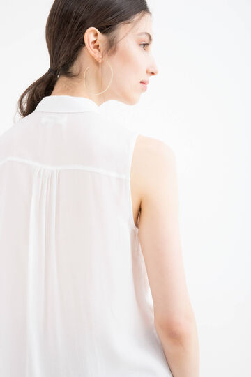 Sleeveless blouse in 100% viscose, White, hi-res