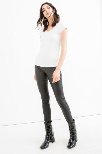 Stretch viscose blend T-shirt with V neck, White, hi-res