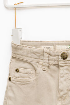 Solid colour slim-fit chino trousers, Brown, hi-res