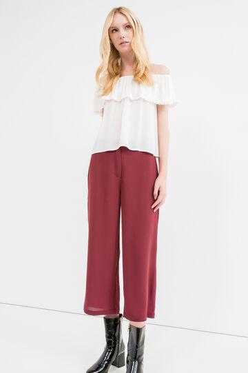 Solid colour stretch crop trousers, Black, hi-res