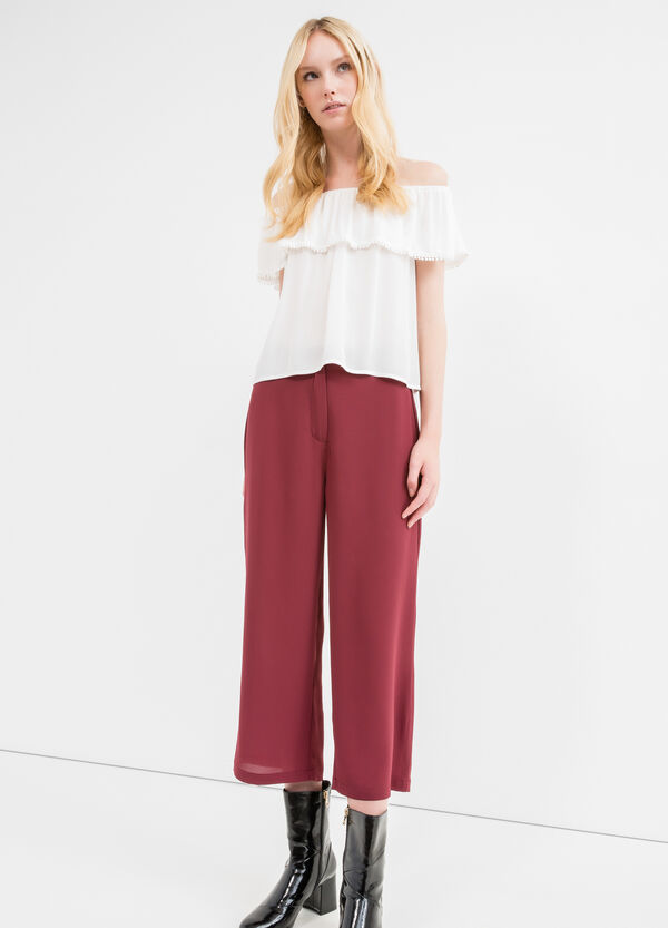 Pantaloni crop stretch tinta unita | OVS