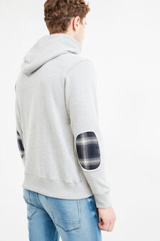 G&H stretch hoodie with patches, Grey Marl, hi-res