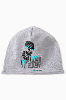 Beanie cap with skull print, Light Grey, hi-res