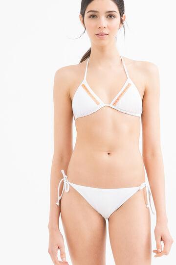Bikini stretch con ricami, Bianco, hi-res