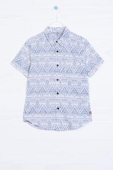 Camicia in cotone stampa taschino, Bianco, hi-res