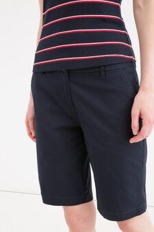 Bermuda cotone stretch con tasche, Blu navy, hi-res