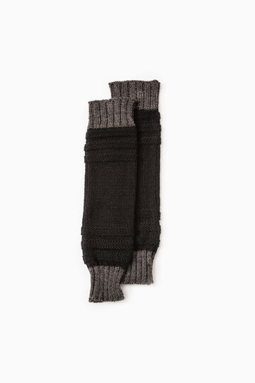 Solid colour knitted leg warmers, Black, hi-res