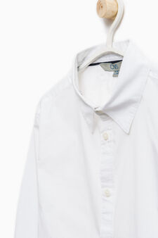 Solid colour stretch cotton shirt, White, hi-res