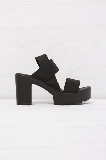 Solid colour sandals with wedge., Black, hi-res