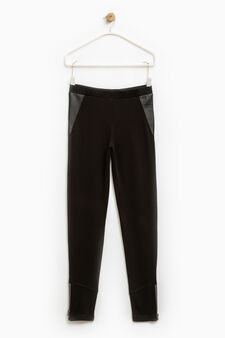 Solid colour stretch viscose trousers, Black, hi-res