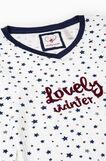 Star pattern cotton pyjamas, White/Blue, hi-res