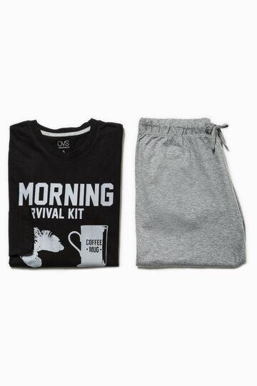 100% cotton printed pyjamas, Black/Grey, hi-res
