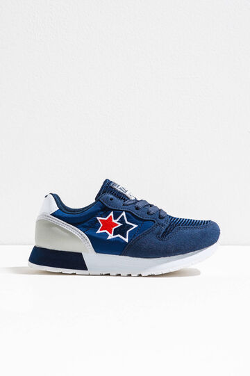 Sneakers con ricami a stella, Blu, hi-res