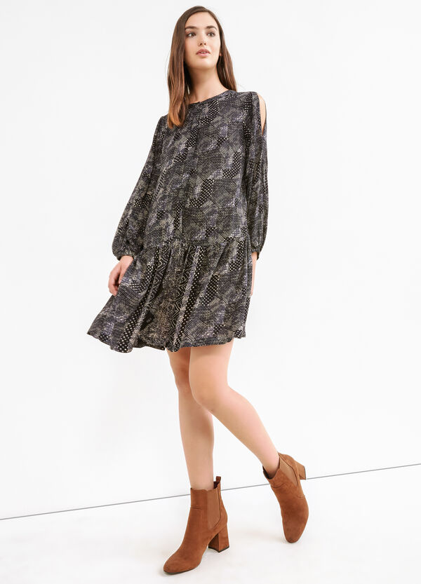 100% viscose dress with all-over print | OVS