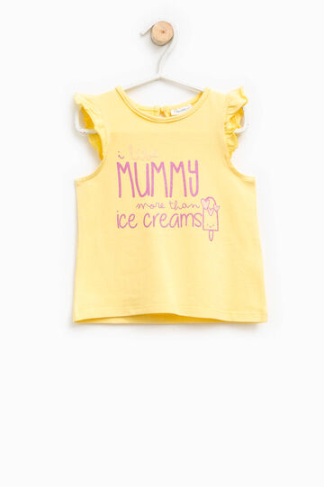 Cotton top with flounce and print, Yellow, hi-res