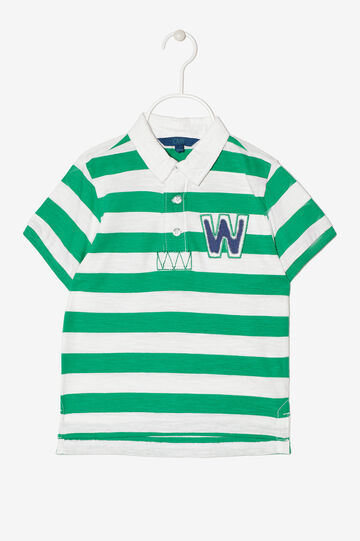 Striped polo shirt with appliqués, White/Green, hi-res