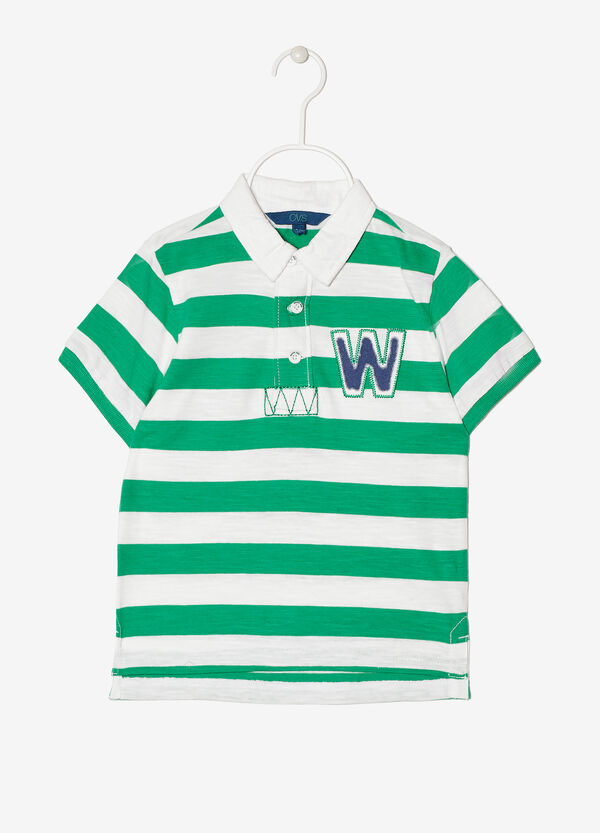 Striped polo shirt with appliqués | OVS