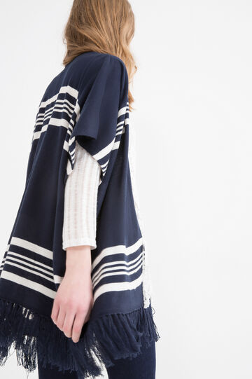 Knitted cardigan with fringe, Navy Blue, hi-res