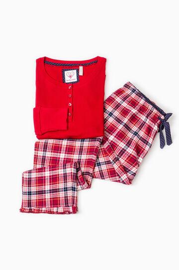 100% check cotton pyjamas, Blue/Red, hi-res