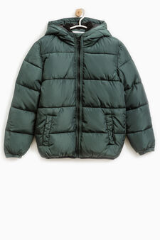 Solid colour down jacket with hood, Green, hi-res