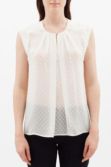 Sleeveless blouse in crepe and plumetis, Ivory White, hi-res