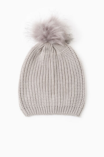 Beanie cap with fur pompom, White, hi-res