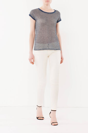 T-shirt traforata, Bianco/Blu, hi-res