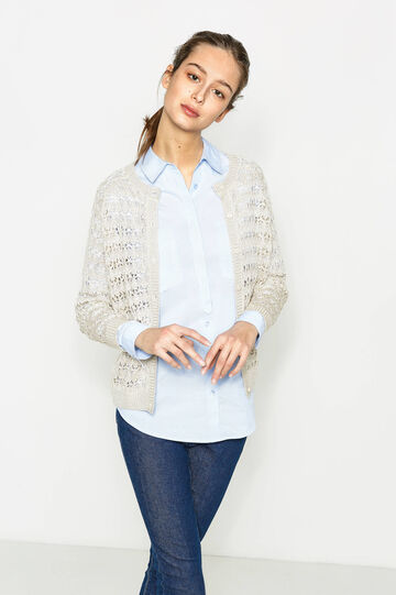 Solid colour knitted openwork cardigan