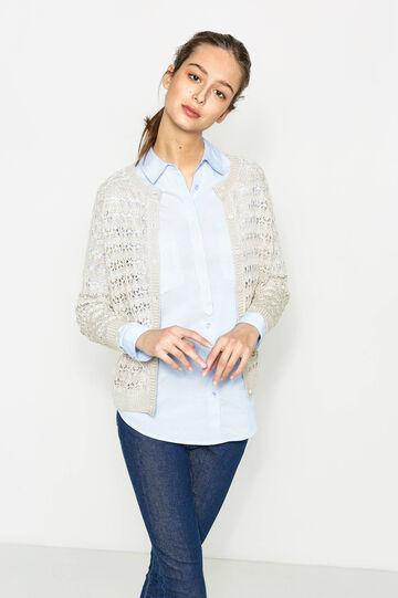 Cárdigan calado en punto tricot de color liso